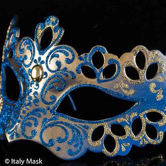 Venetian Mask Colombina Madam Decor Gold Blue