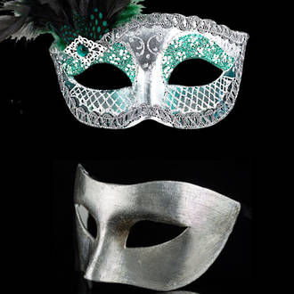 Venetian Masquerade Couples Masks - Silver Green