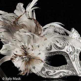 Feather Mask Colombina Vin Silver White