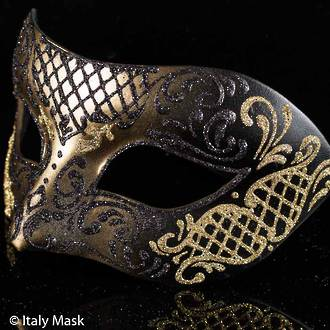 Venetian Mask Colombina Decor Gold Black