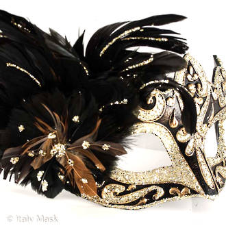 Feather Mask Colombina Vin Gold Black