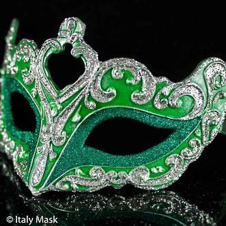 Venetian Masquerade Mask Colombina Vin Green Silver