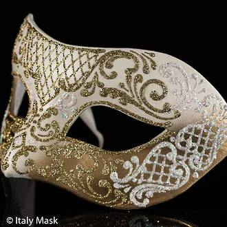 Venetian Mask Colombina Decor White Gold