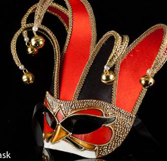 Venetian Masquerade Mask Colombina Jolly Velluto Black Red