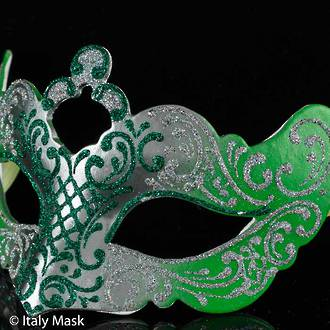 Venetian Masquerade Mask Colombina Madam Decor green-silver