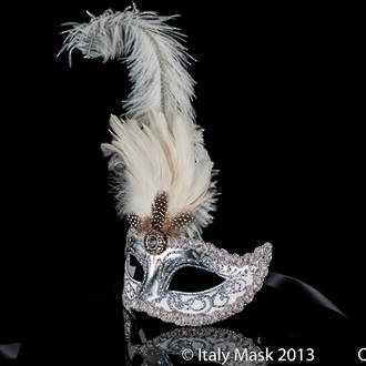 Venetian Feather Mask Colombina Ciuffo Sisi Silver White