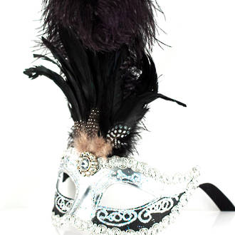Venetian Feather Masquerade Mask Colombina Ciuffo Sisi Silver Black 2