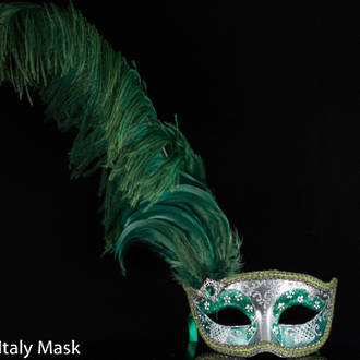 Venetian Feather Masquerade Mask Colombina Ciuffo Can Can Silver-Green