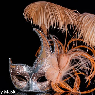 Venetian Masquerade Feather Mask Colombina Ciuffo Cigno Silver Peach 2
