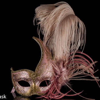 Venetian Masquerade Feather  Mask Colombina Ciuffo Cigno Gold Pink