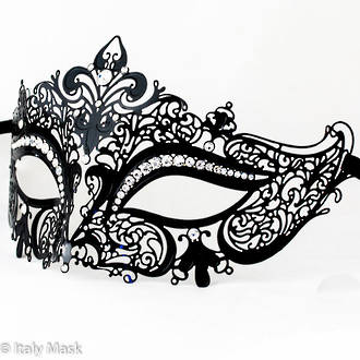 Metal Filigree Masquerade Mask Diana Black