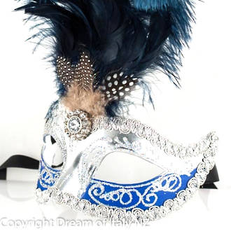 Venetian Masquerade Feather Mask Colombina Ciuffo Sisi Silver Blue 2