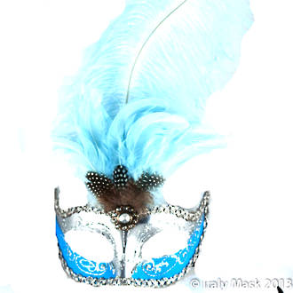 Venetian Feather Masquerade Mask Colombina Ciuffo Sisi Silver Sky Blue