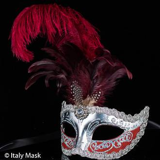Venetian Feather Masquerade Mask Colombina Ciuffo Sisi Silver Burgundy