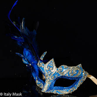 Feather Mask Colombina Vin Blue Gold