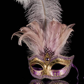 Venetian Feather Mask Colombina Ciuffo Sisi Gold Lilac/Purple