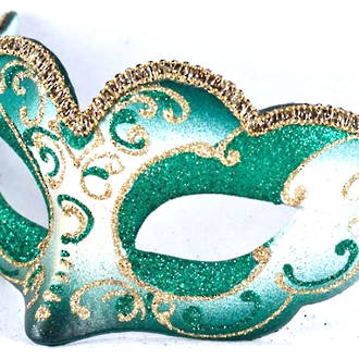 Venetian Masquerade Mask Colombina Madam Gold Green