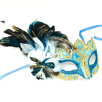 Feather Mask Colombina Vin Aqua Gold