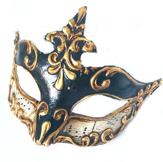 Venetian Masquerade Mask Colombina Madam Music Black