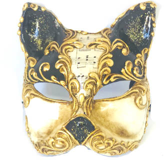 Venetian Masquerade Mask Gatto Vivian Music Black Gold