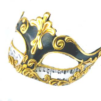 Venetian Masquerade Mask Colombina Madam Music Black 2