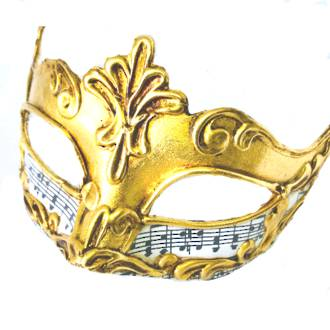 Venetian Masquerade Mask Colombina Madam Music Gold