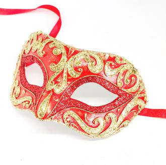 Venetian Masquerade Mask Colombina Vin Decor Red Gold