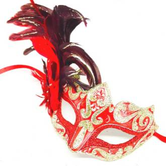 Feather Mask Colombina Vin Red Silver