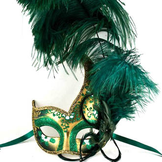 Venetian Feather Masquerade Mask Colombina Ciuffo Cigno Gold Green