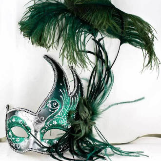 Venetian Feather Masquerade Mask Colombina Ciuffo Cigno Silver Green