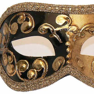 Venetian Masquerade Mask Colombina Mezza Gold Black