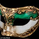 Venetian Masquerade Mask Colombina Stucco Green
