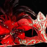 Feather Mask Colombina Vin Gold Red