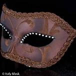 Venetian Masquerade Mask Colombina Brown 1