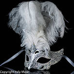 Venetian Masquerade Feather Mask Colombine Decor White
