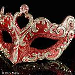 Venetian Masquerade Mask Colombina Vin Red Gold