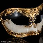 Venetrian Masquerade Mask Colombina Stucco Black