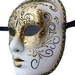 Venetian Carnival/Masquerade Full Face Mask- Volto Decor Aria Gold