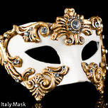 Venetian Masquerade Mask Colombina Baroque Gold Cream