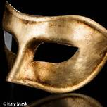 Italian Masquerade Mask Colombina Antique Gold