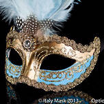Venetian Masquerade Feather Mask Colombina Ciuffo Sisi Gold Sky Blue
