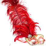 Venetian Feather Masquerade Mask Colombina Ciuffo Can Can Gold Red
