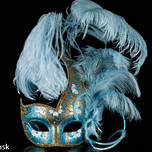 Venetian Masquerade Feather Mask Colombina Ciuffo Cigno Gold Aqua