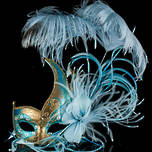 Venetian Masquerade Feather Mask Colombina Ciuffo Cigno Gold Aqua 2