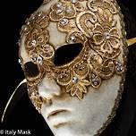 Venetian Carnival Masquerade  Mask Volto Macrame Gold
