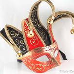 Venetian Masquerade Mask Colombina Jolly Brillante Red Black Gold