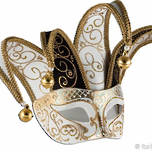 Venetian Masquerade Mask Colombina Jolly Brillante Black White Gold