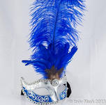 Venetian Masquerade Feather Mask Colombina Ciuffo Sisi Silver Blue