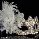 Feather Mask Colombina Vin Gold White