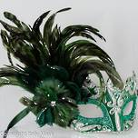Feather Masquerade Mask Colombina Vin Green Silver